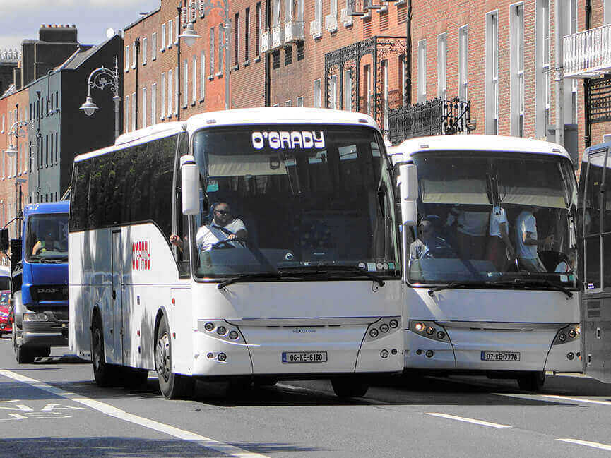 OGrady coach and mini bus hire staff transport and contract shuttle bus Dublin city and Blanchardstown